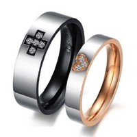 "Stainless Steel 18k Plated Cz ""Cross & Heart"" Engraved Couple Rings Set for Engagement, Promise, Eternity R018 (His Size 7,8,9,10; Hers Size 5,6,7,8). Please Email Sizes"