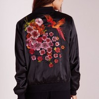 Missguided - Oriental Embroidered Satin Bomber Jacket Black