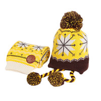 Infant Baby Winter Warm Knitting Baby Beanie Hat And Scarf Yellow