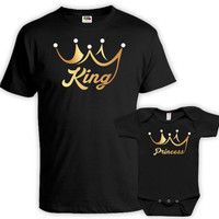 Father Daughter Matching Shirts Dad And Daughter T Shirts Daddy And Me Clothing Family Outfits New Dad King And Princess Bodysuit DN-607-610