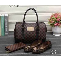 LV Stylish Women Trending Shopping Leather Tote Handbag Shoulder Bag Purse Wallet Single shoe Set  Three-Piece Coffee Tartan I-KSPJ-BBDL