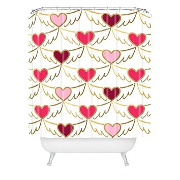 Lisa Argyropoulos Golden Wings of Love White Shower Curtain