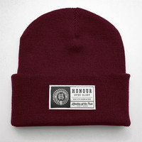 Patch Beanie (cranberry)   The Honour Over Glory Store