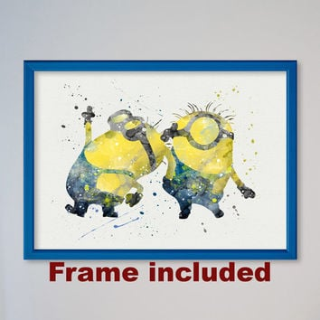 Minions Picture Despicable Me Watercolor illustrations, Art Print, Nursery Art Wall Decor gift for daughter for boy for kids FRAMED