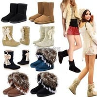 New Popular Women's Soft Winter Warm Snow Boots Shoes Faux Suede Bowknot 5-9