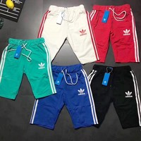ADIDAS Summer Shorts Full Colorful Three Line Men Shorts B-LWWM Five Color