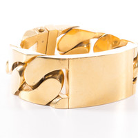 Gold Metal Bracelet with Large ID Plate