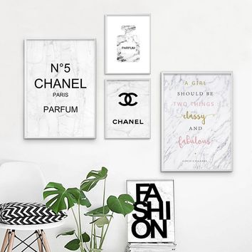 Marble Perfume Fashion Painting Pop Art Canvas Posters and Prints Wall Pictures for Living Room Girls Bedroom Decoration