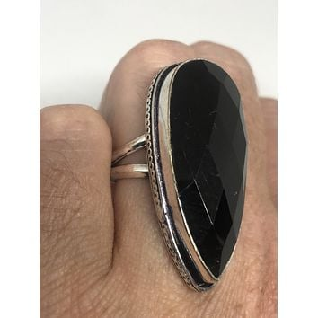 Vintage Black Onyx Silver Statement Cocktail Ring size 7.5