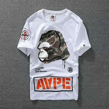 Bape Aape Trending Women Men Loose Logo Print T-Shirt Top White I-Great Me Store