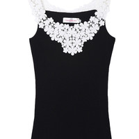 Lace Applique Strap Sleeveless Bodycon Top