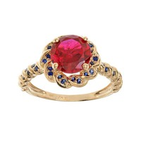 Lab-Created Ruby & Lab-Created Sapphire 14k Gold Over Silver Flower Ring (Stone/Ruby/Sapphire)