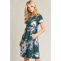 Floral Day Dream Midi Dress - Hunter Green