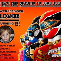 PORWER RANGERS MEGAFORCE Birthday party invitations personalized You print