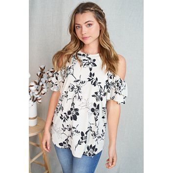 It's Fate Cream Floral Ruffle Cold Shoulder Top