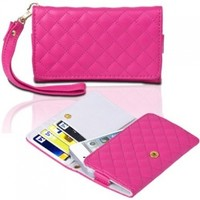 CE Compass Wallet Flip Leather Case Cover w/ Strap For iPhone 5 (Pink)