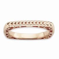 Sterling Silver Stackable Expressions Polished Pink-plate Square Ring: RingSize: 7
