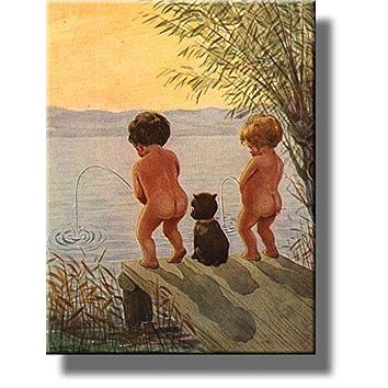 Boys by The Lake Distance Record Toilet Bathroom Picture Made on Stretched Canvas, Wall Art Decor Ready to Hang.