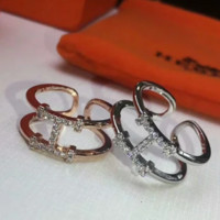 Hermes New fashion more diamond opening woemn ring two color