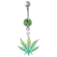 Super Sexy Glow In The Dark Pot Leaf Belly Rings