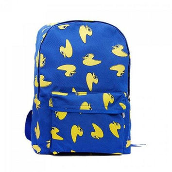 Casual Duckling Print and Canvas Design Women's Satchel