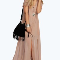 Natalya Chiffon Button Through Sliced Maxi Dress