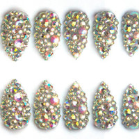 Rhinestone Full Cover Fake Nails, Crystal gems nail w/ choice of base colour on coffin, stiletto, oval or matte nails, 20 Press on nails