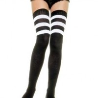 Leg Avenue Women's Athlete Thigh High Stockings with 3-Stripe Top