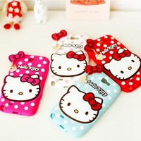 Hello Kitty Heart Silicone Mobile Case for Galaxy Note 4