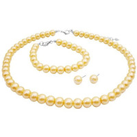 NS981 Yellow Pearl Bridesmaid Jewelry Set Necklace Earrings And Bracelet Set Free Shipping In US