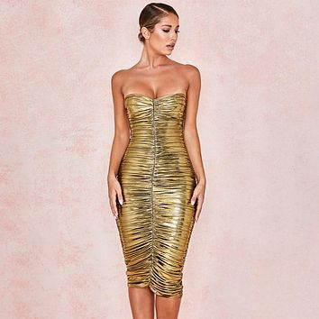 Gold Dust Ruched Dress