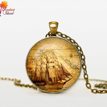 PIRATE Map Pendant pirate map jewelry pirate map necklace Gifts for Him  Jewelry  Fantasy Pendant Art Gifts for Her nautical jewelr