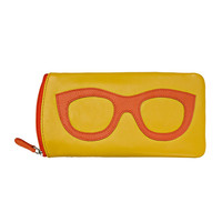 Leather Eyeglass Case - Yellow/Orange