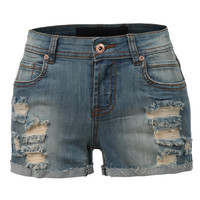 LE3NO Womens Classic Distressed Denim Shorts with Pockets (CLEARANCE)
