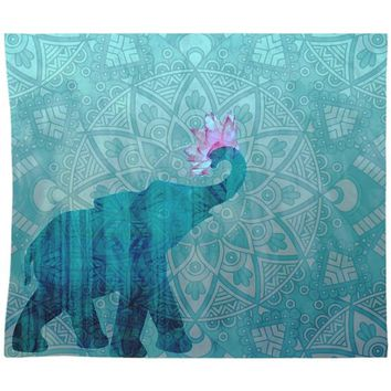 Blue Elephant Tapestry Wall Hanging Teal Mandala Design With Pink Lotus