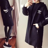 """Adidas"" Women Casual Stripe Hooded Long Sleeve Zip Cardigan Middle Long Section Windbreaker Coat"