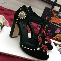 DOLCE&GABBANA D&G  Women Casual Shoes Boots  fashionable casual leather Women Heels Sandal Shoes