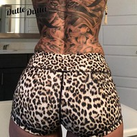 Woman Biker Legging Leopard Workout Yoga Sports Shorts For Women Sport Wear Compression Hot Tight Gym Short Fitness Women's
