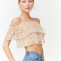 Sheer Off-the-Shoulder Star Print Top