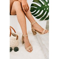 Sandy Toes Stitched Heeled Sandals (Taupe)