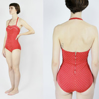 vintage 50s swim suit red halter top one piece swimsuit sweetheart neckline white polka dot XS SMALL sm Onesuit retro pinup