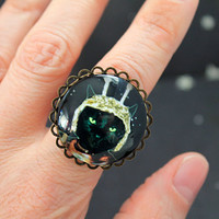 Captain Cosmos ring scifi retro science fiction black cat geekery large style