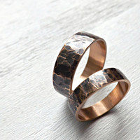 bronze ring set, rustic ring bands, two domed bronze rings, hammered bronze ring, 4mm and 6mm wide rings, rustic mens ring, anniversary gift
