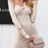8DESS  One Shoulder Sexy Bodycon Long Sleeve Party Club Mini Dress