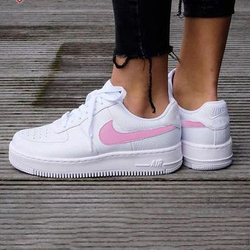 NIKE Women Men Running Sport Casual Shoes Sneakers Air force Pink