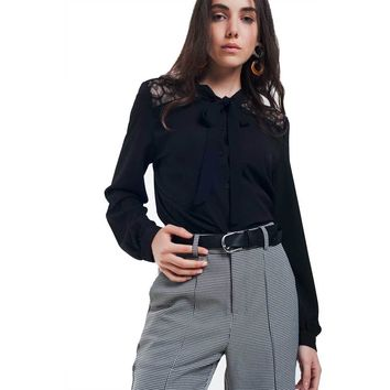 Womens Black Button-Down Shirt With Lace Detail