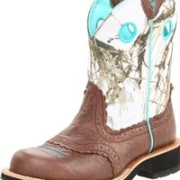 Ariat Women's Fatbaby Cowgirl Western Cowboy Boot, Brown Crinkle/Snowflake, 9.5 M US