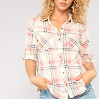 Lounge Lover Plaid II Top - Ivory/Combo