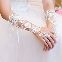 White Bridal Indoor Decoration Prom Sexy Lace Flower Rhinestones Fingerless Gloves Wedding Party = 1931928836