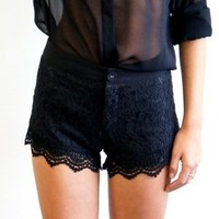 Sexy Little Teel &  Lace Shorts (Black/White) from 1Point99.com